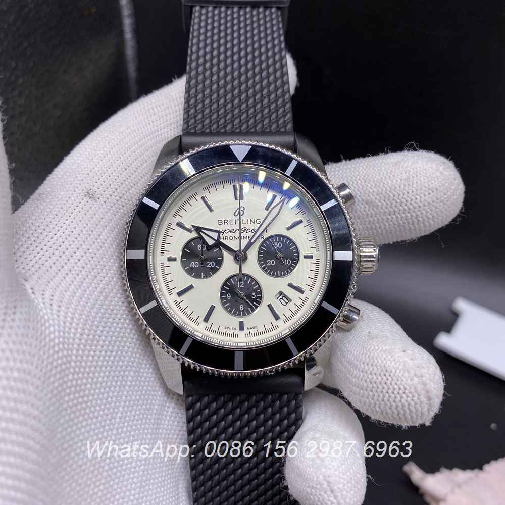 B023M271, Breitling Quartz SuperOcean full chrono function white dial rubber strap