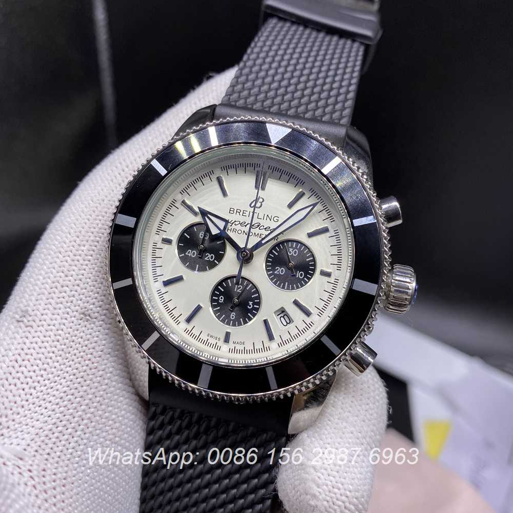 B023M271, Breitling Quartz SuperOcean full chrono function white dial rubber strap