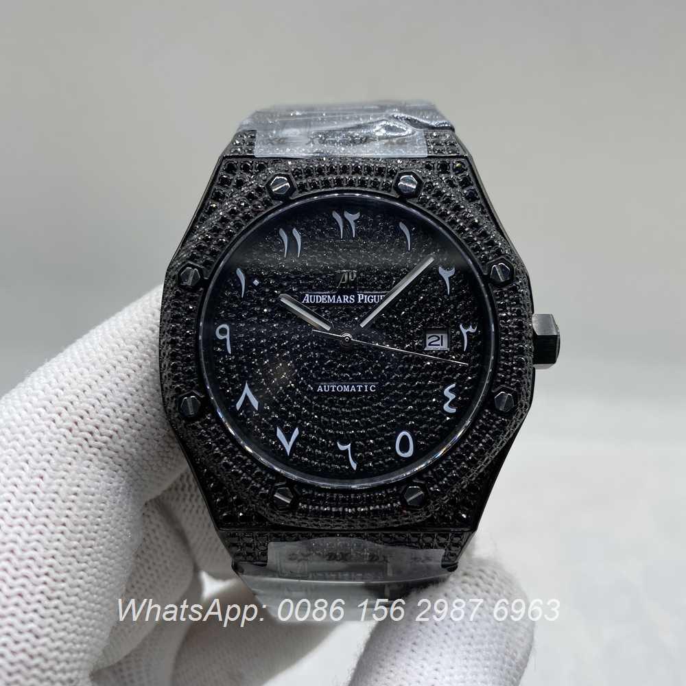 A160M266, AP black diamonds case with Arabic numerals dial 42mm automatic