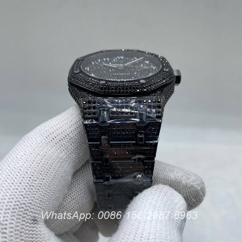 A160M266, AP black diamonds case with Arabic numerals dial 42mm automatic