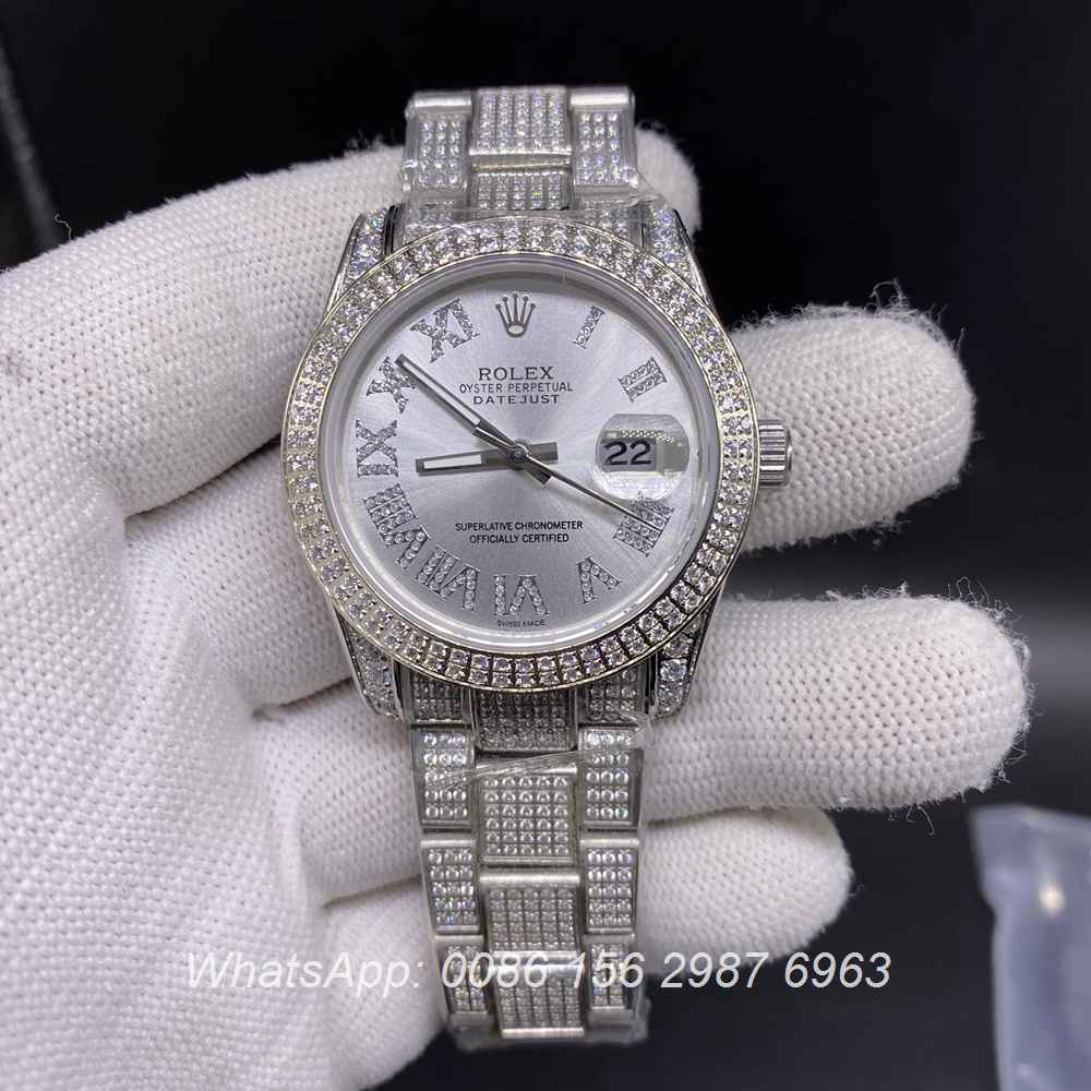 R116BL263, Datejust diamonds case with silver roman numerals dial 37mm
