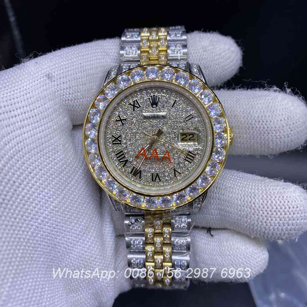 R105MH260, Datejust gold two-tone diamonds case 40mm with roman numerals