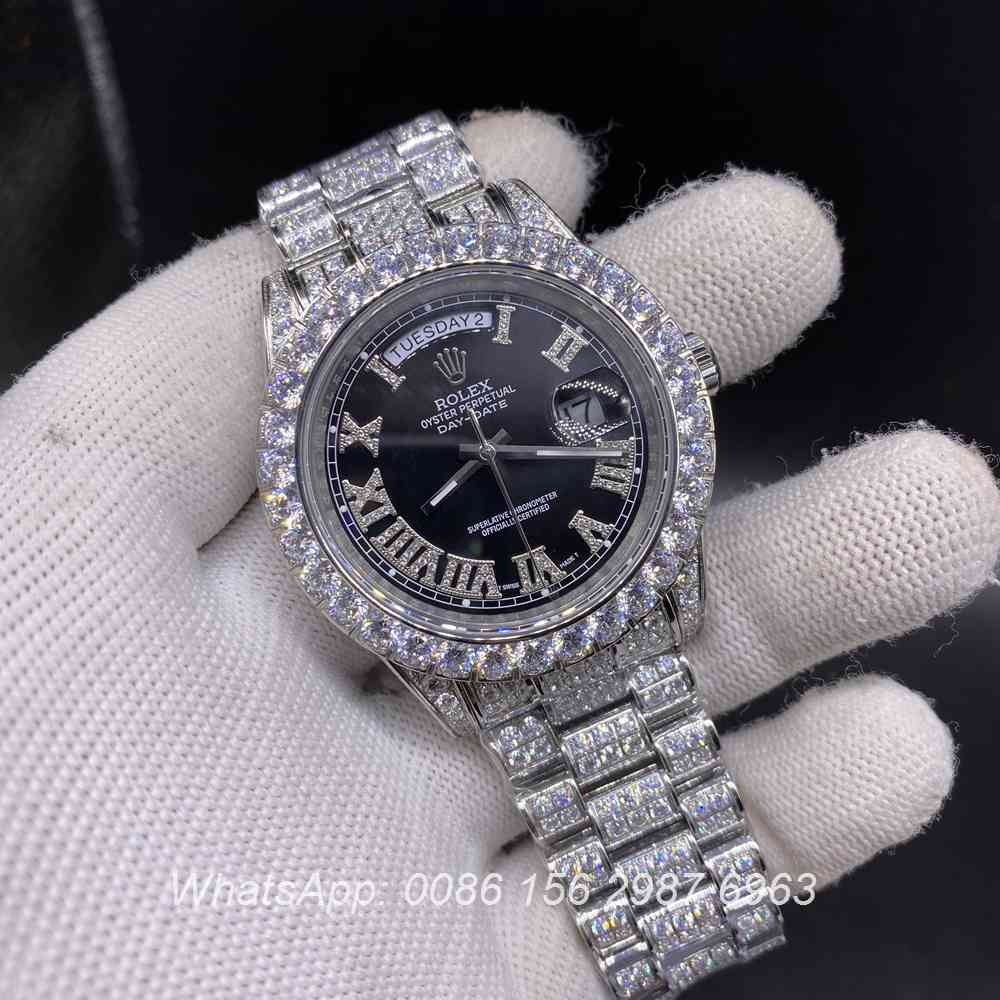R200M270, SUB iced silver case with Roman numerals black dial 42mm high grade