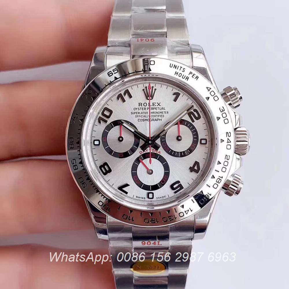 R305SF275, Daytona Noob 904L Cal.4130 silver/white Top quality