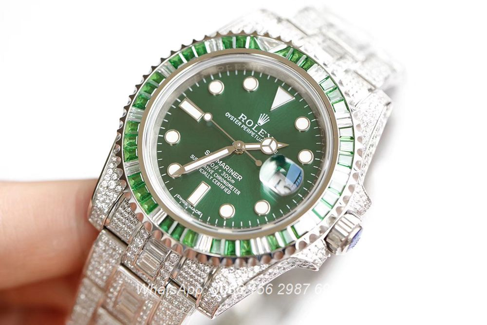 R290XD280, SUB diamonds baguette silver case with green dial 3135 movement 904L