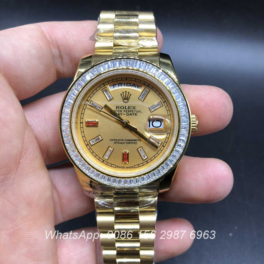 R033MH279, Rolex DayDate gold case baguette diamonds bezel 38mm automatic AAA