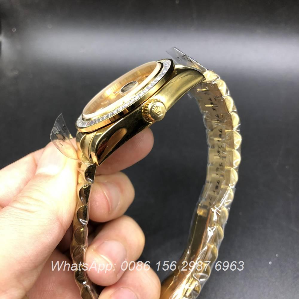 R033MH279, Rolex DayDate gold case baguette diamonds bezel 38mm automatic AAA