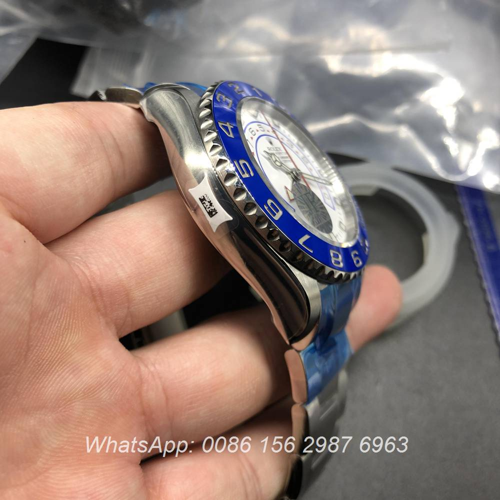 R180WT305, YM II ETA 7750 automatic JF factory silver case with ceramic blue bezel 44mm