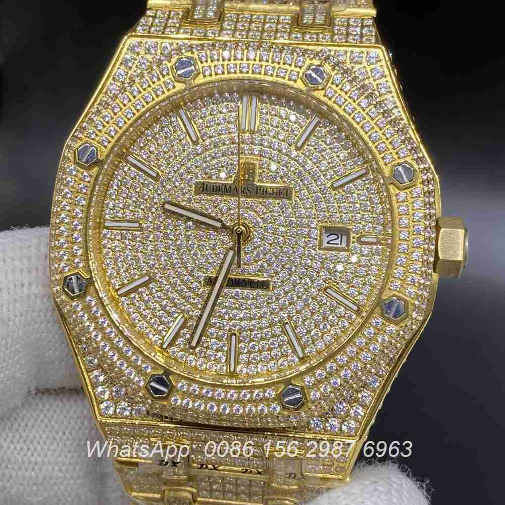 AP140SF293, AP iced out yellow gold case 42mm automatic men's watch AAA