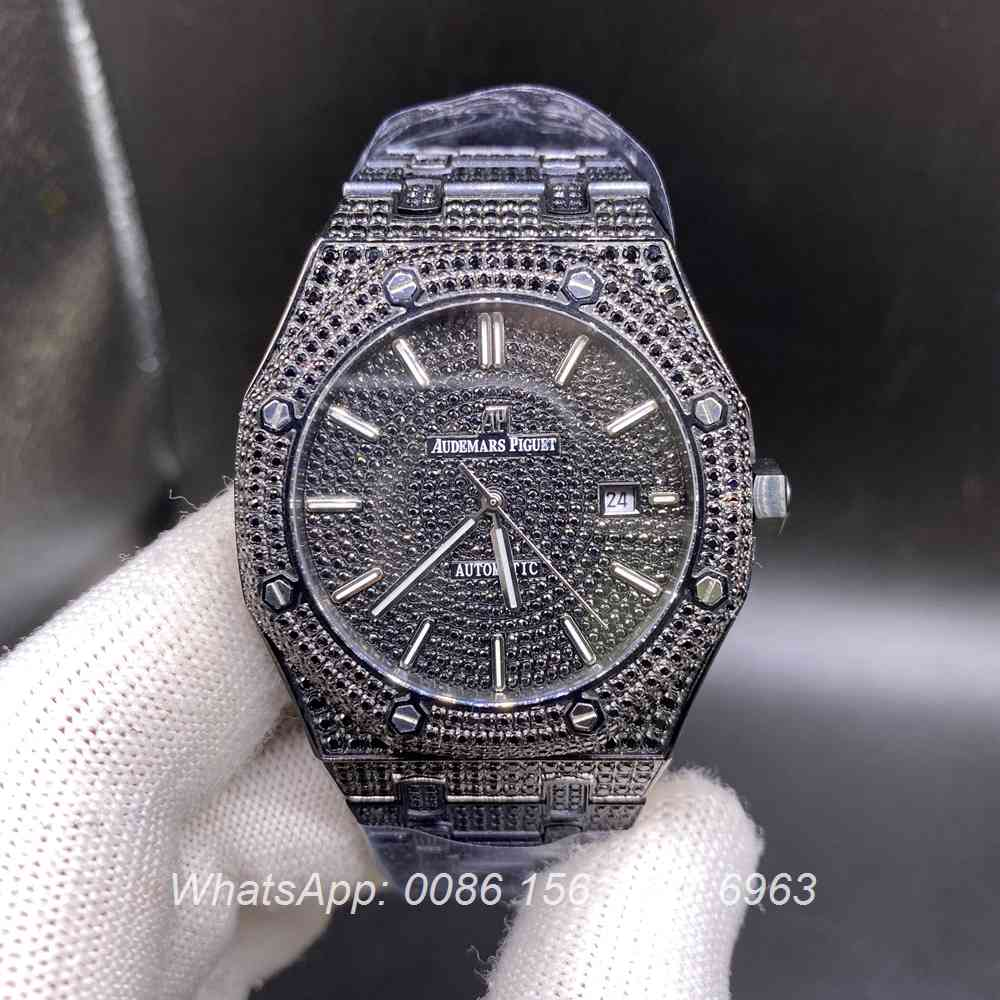AP140SF294, AP iced out black case 42mm diamonds face automatic AAA men's watch