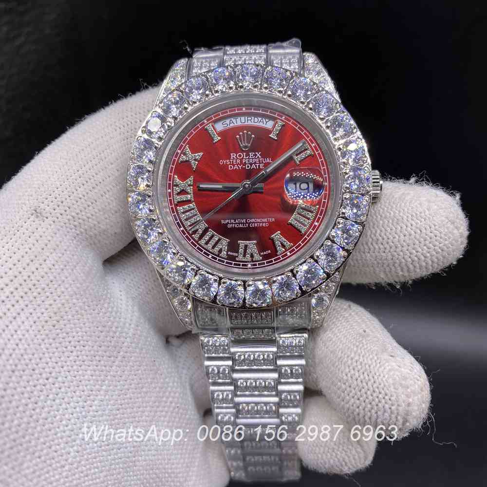 R110SF288, DayDate iced silver case 43mm with red dial Roman numbers AAA automatic