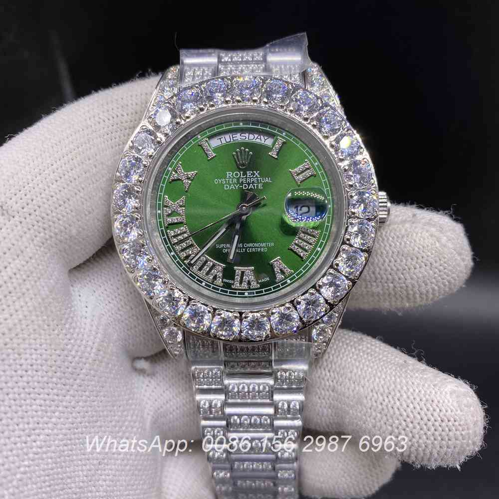 R110SF289, DayDate iced silver case with green dial prongset diamonds bezel automatic watch