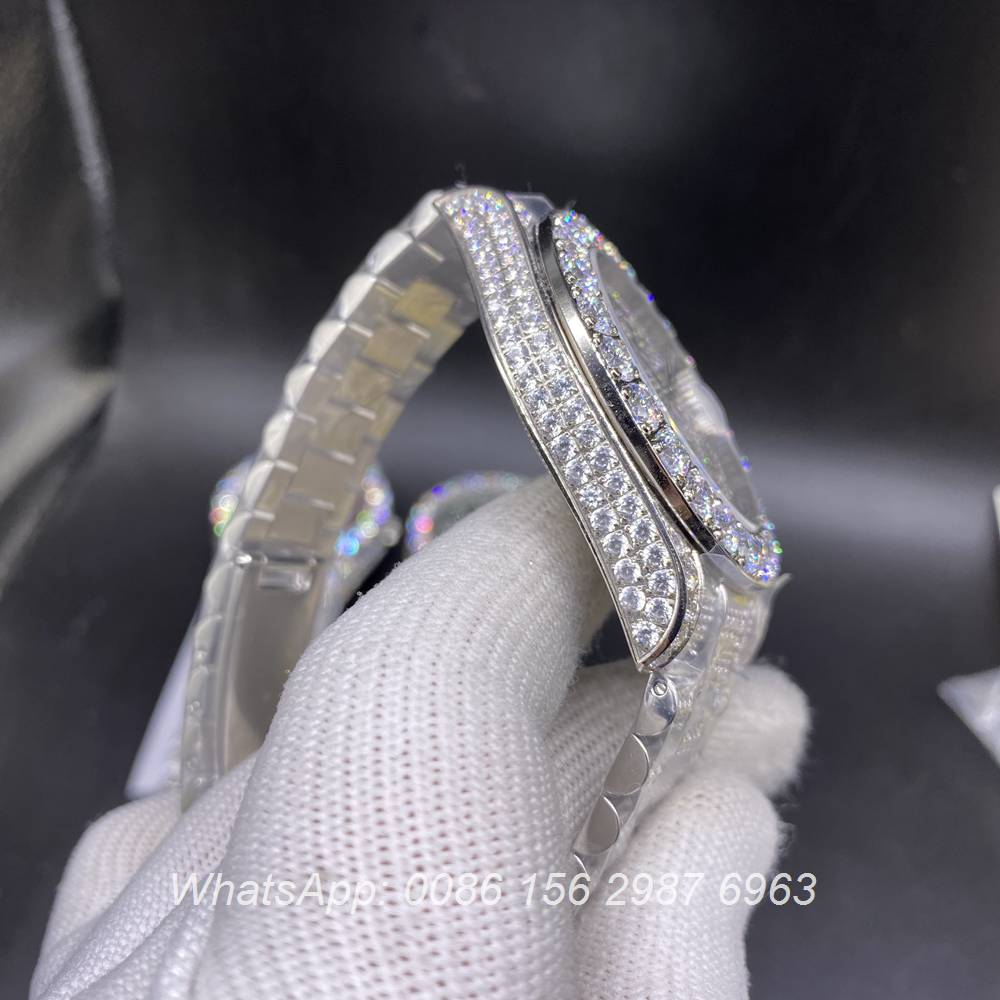 R130SF290, DayDate iced silver case 43mm with diamonds face prongset bezel AAA automatic