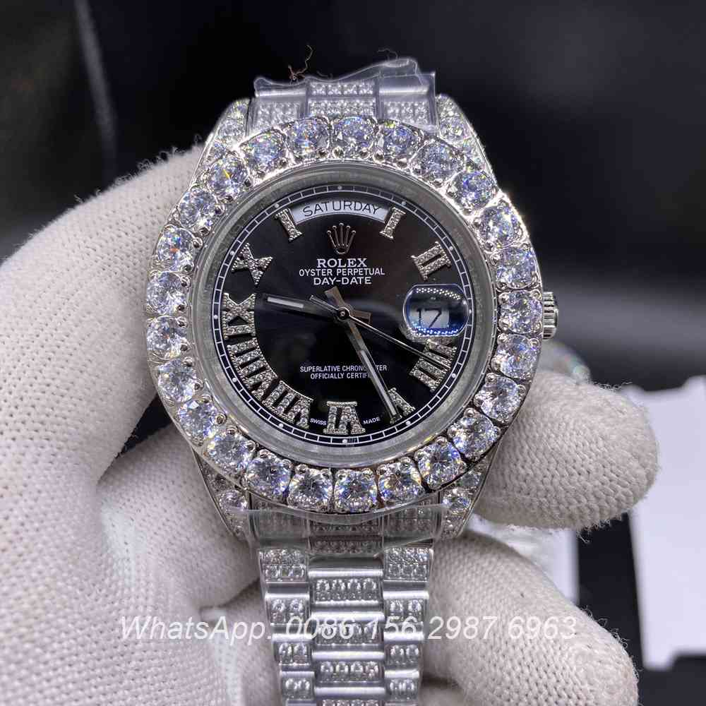 R110SF291, DayDate iced silver case with black dial diamonds prongset bezel AAA men's watch