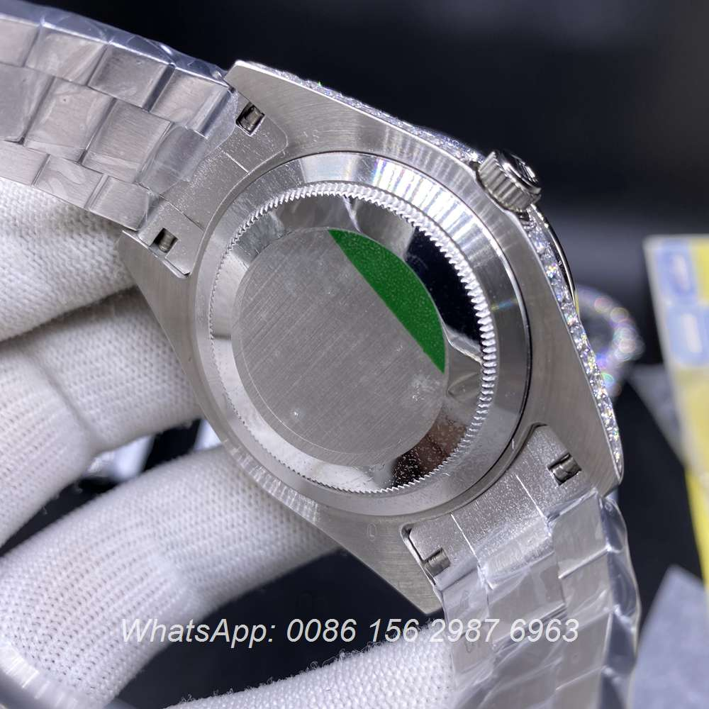 R110SF292, DayDate iced silver case with blue dial prongset bezel automatic AAA
