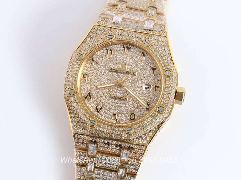 AP160SF295, AP Arabic numbers diamonds yellow gold case 42mm automatic AAA