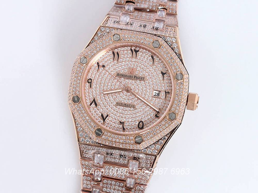 AP160SF296, AP iced out rose gold case 42mm Arabic numbers diamonds face