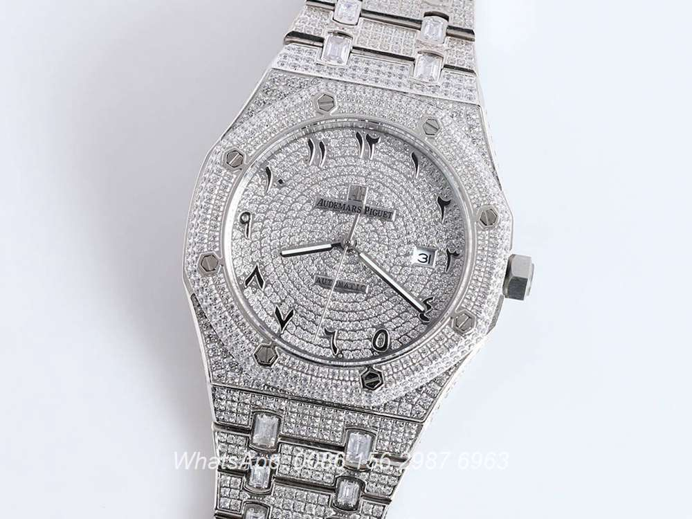 AP160SF297, AP iced out silver case 42mm Arabic numbers bling diamonds dial