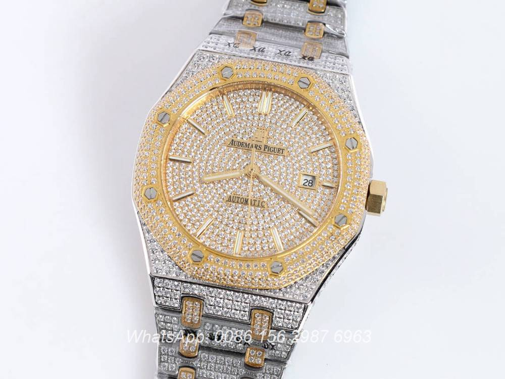 AP140SF299, AP diamonds two tone yellow gold shiny iced out men's watch
