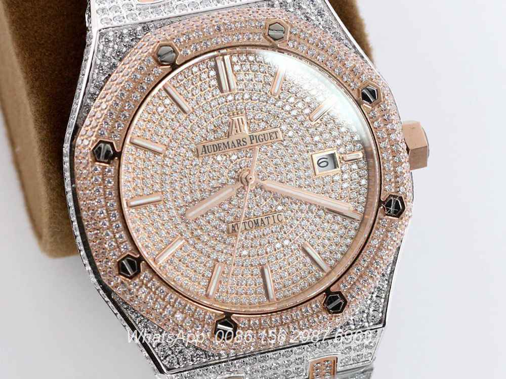 AP140SF298, AP iced out rose gold two tone case 42mm automatic luxury men's watch
