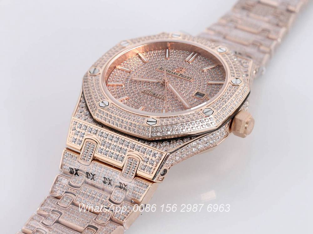 AP140SF300, AP iced out rose gold shiny diamonds luxury men's automatic watch
