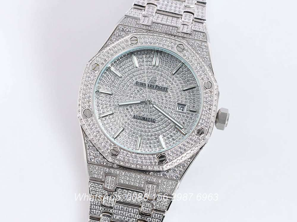 AP140SF301, AP diamonds silver case shiny iced out face AAA automatic watch