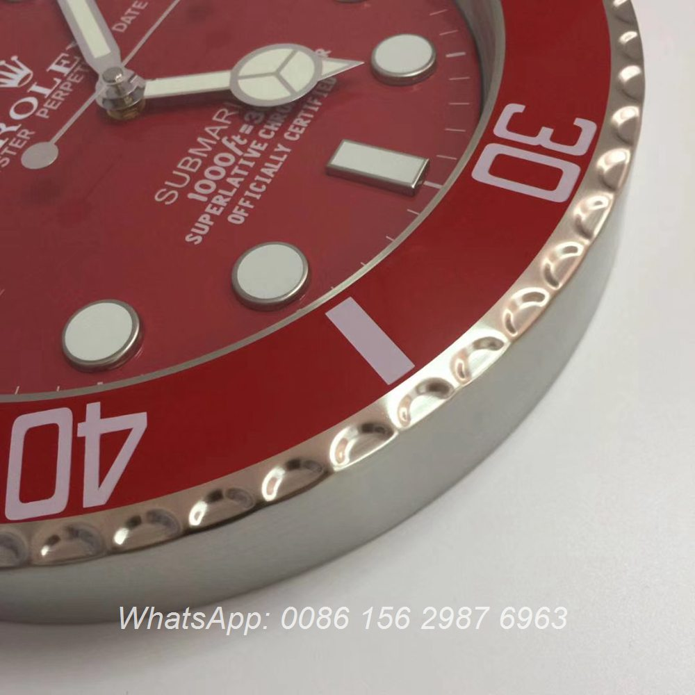 CLOCK001, Rolex SUB wall clock silver case with red face battery movement