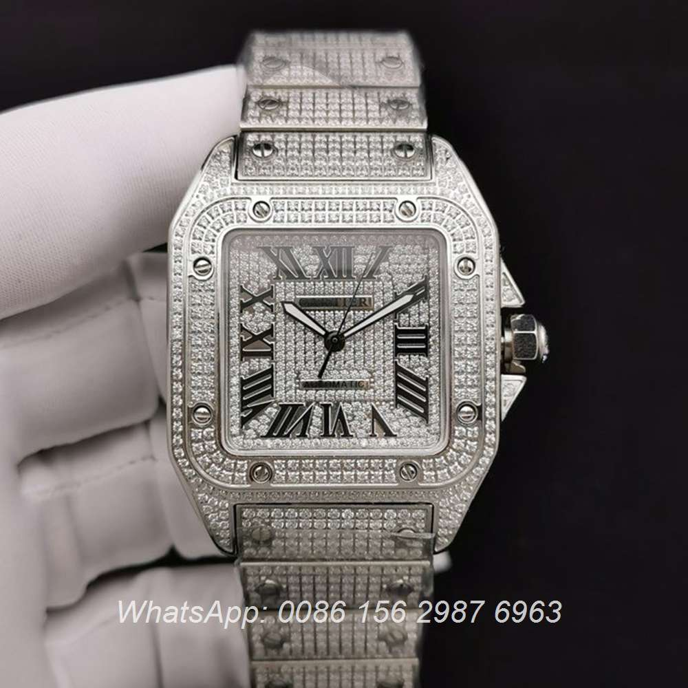 C285SF283, Cartier santos iced silver bling diamonds face 40mm automatic 2824 movement luxury watch