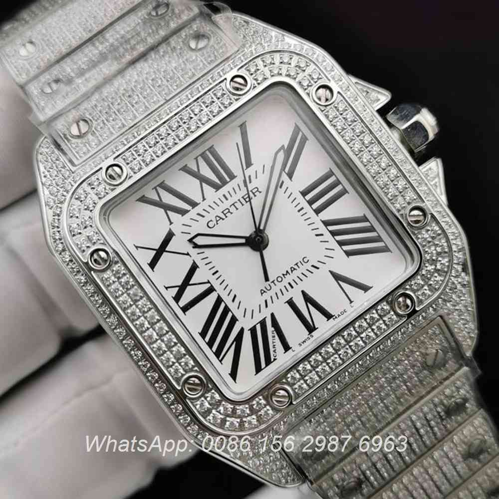C285SF284, Cartier Santos diamonds case 40mm ETA 2824 automatic white dial steel watch