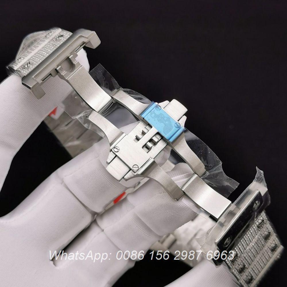 C285SF284, Cartier Santos diamonds case 40mm ETA 2824 automatic white dial steel watch