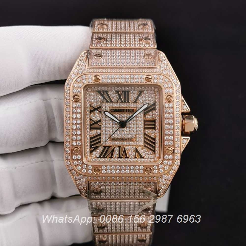 C285SF285, Cartier santos diamonds rose gold case 40mm ETA 2824 movement