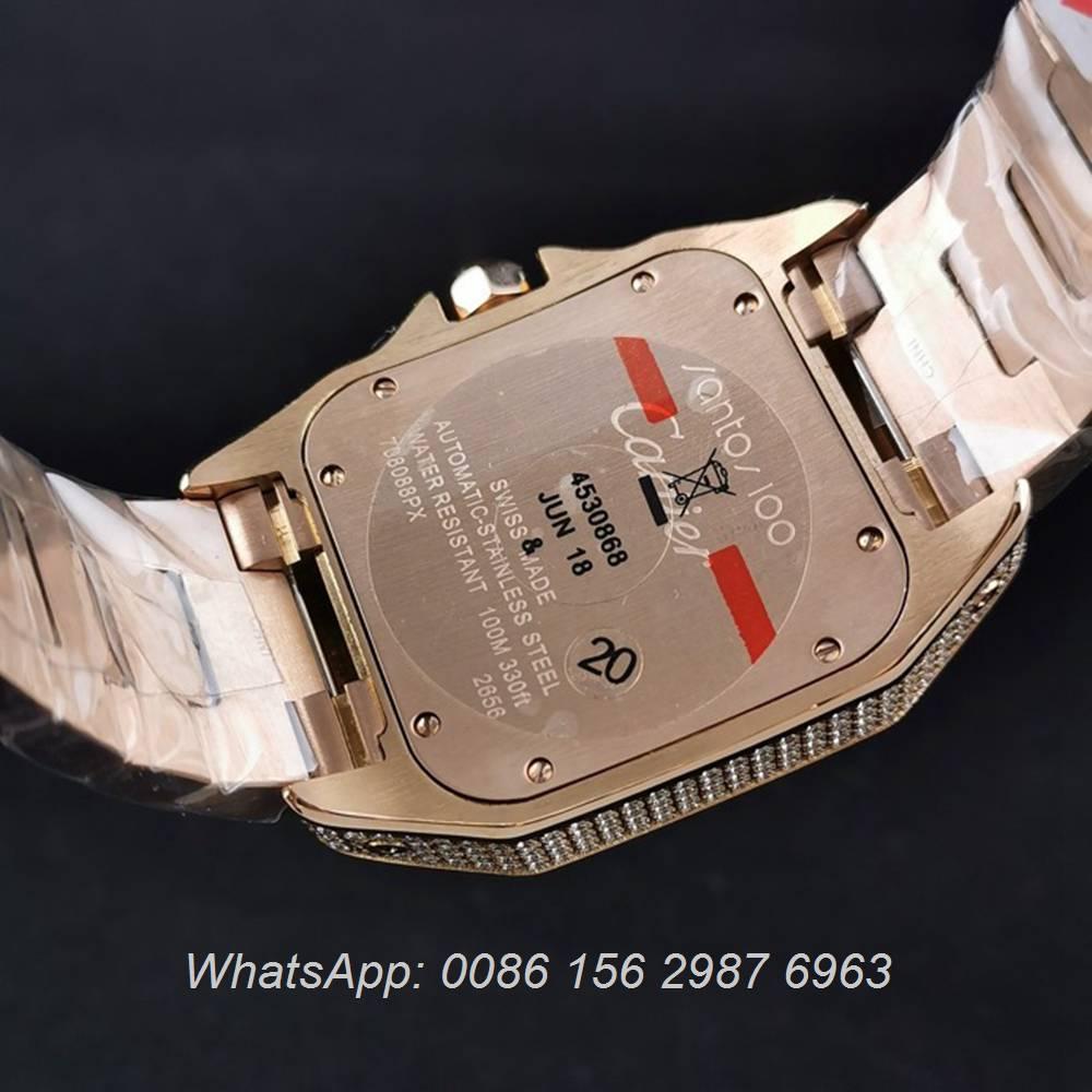 C285SF285, Cartier santos diamonds rose gold case 40mm ETA 2824 movement