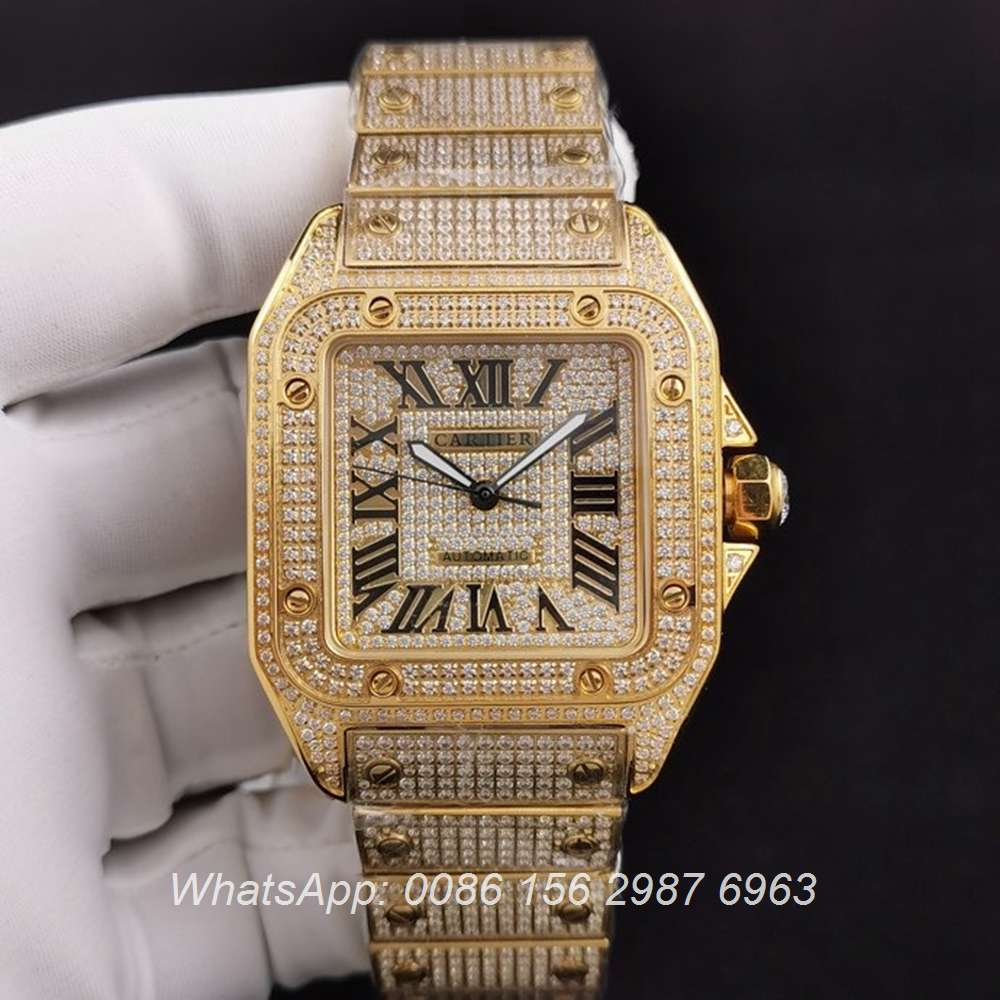 C285SF286, Cartier santos iced gold case 40mm ETA 2824 luxury men's diamonds watch