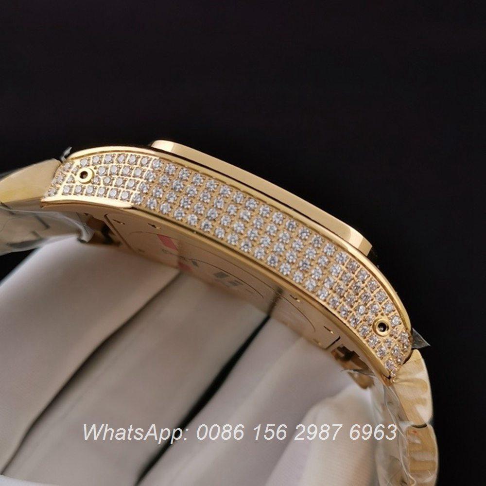 C285SF286, Cartier santos iced gold case 40mm ETA 2824 luxury men's diamonds watch