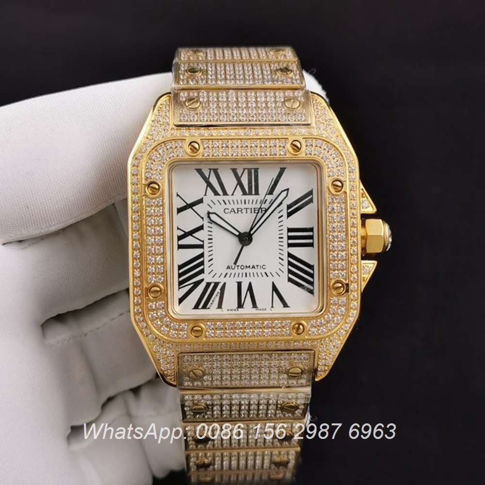 C285SF287, Cartier santos iced yellow gold case with white dial ETA 2824 luxury men's watch