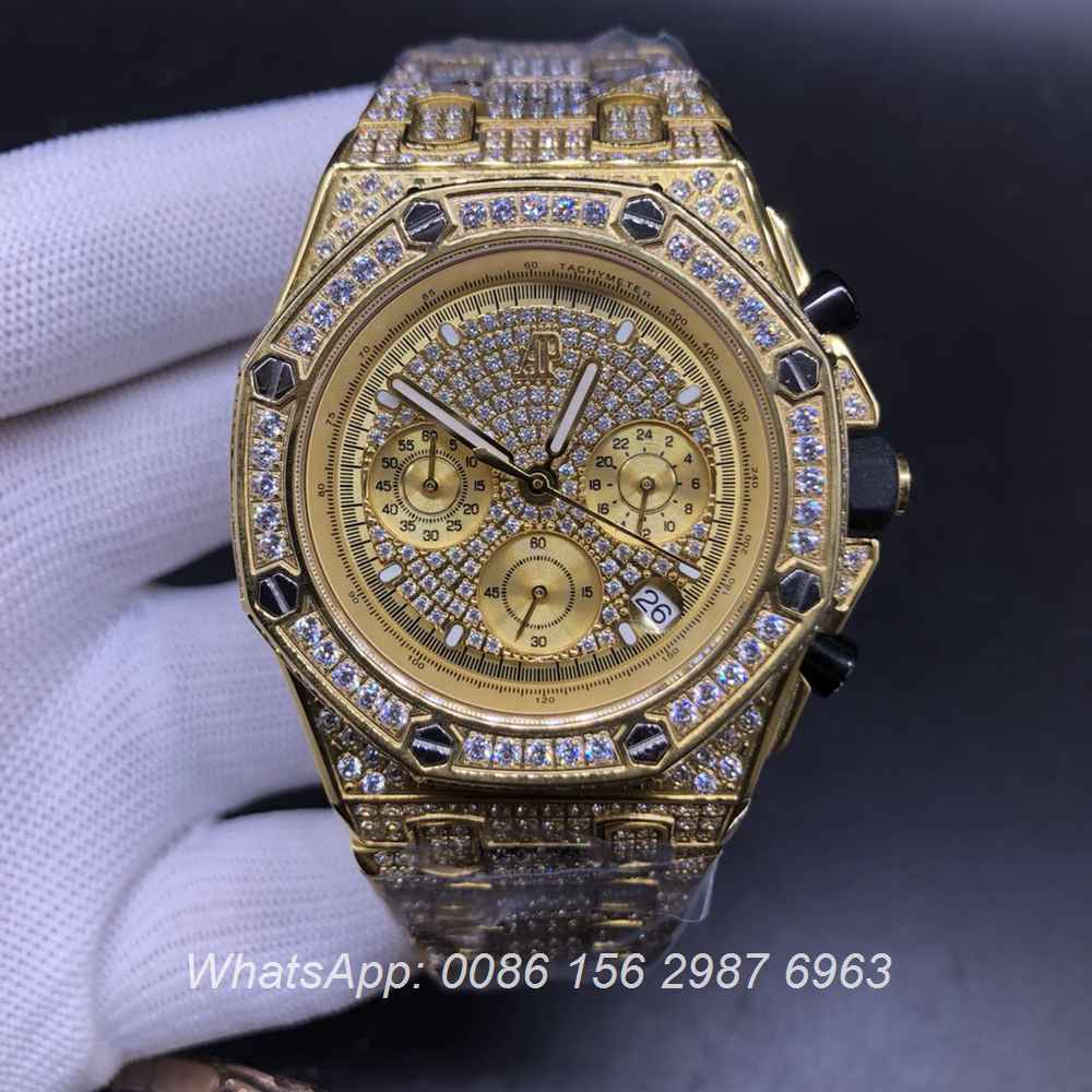 AP120SF302, AP diamonds gold case 42mm VK quartz chronograph full works