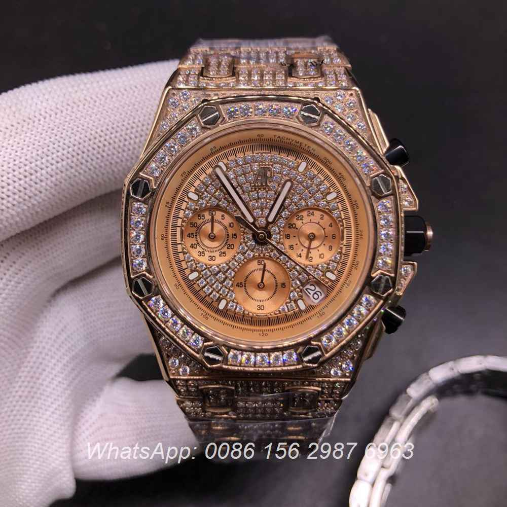 AP120SF303, AP diamonds rose gold case 42mm VK quartz men's chronograph watch