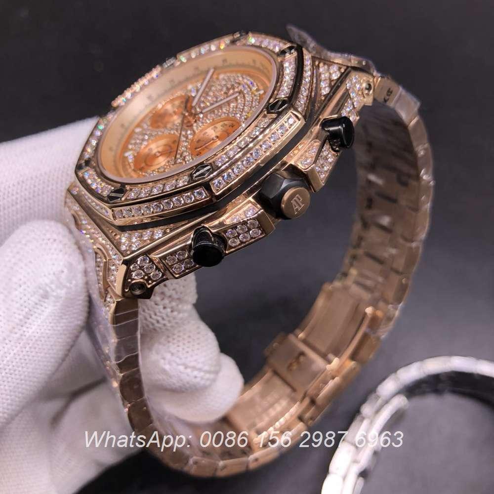 AP120SF303, AP diamonds rose gold case 42mm VK quartz men's chronograph watch