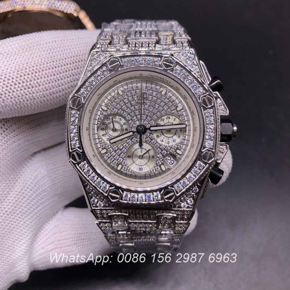 AP120SF304, AP diamonds silver case with chronograph vk quartz stopwatch