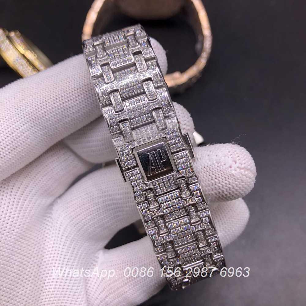 AP120SF304, AP diamonds silver case with chronograph vk quartz stopwatch