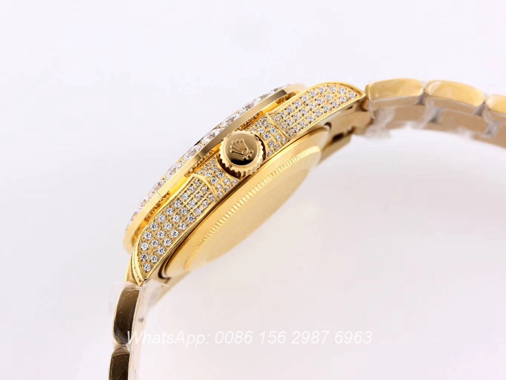 R120SF312, SUB iced out gold shiny diamonds automatic 40mm 2813 AAA