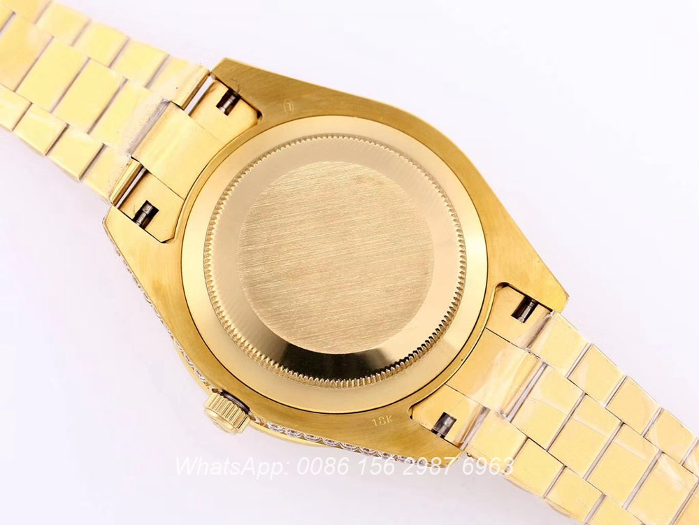 R130SF314, DayDate iced out gold case 43mm Oyster Perpetual automatic AAA