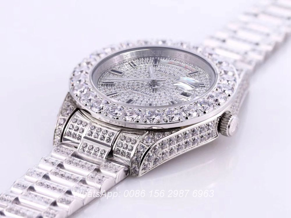 R130SF315, DayDate diamonds silver 43mm Oyster Perpetual AAA automatic