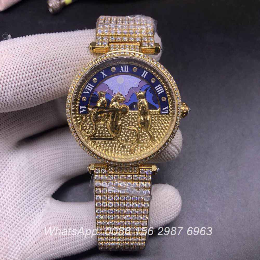 C110XD320, Cartier iced out gold case 36mm women size bling diamonds luxury