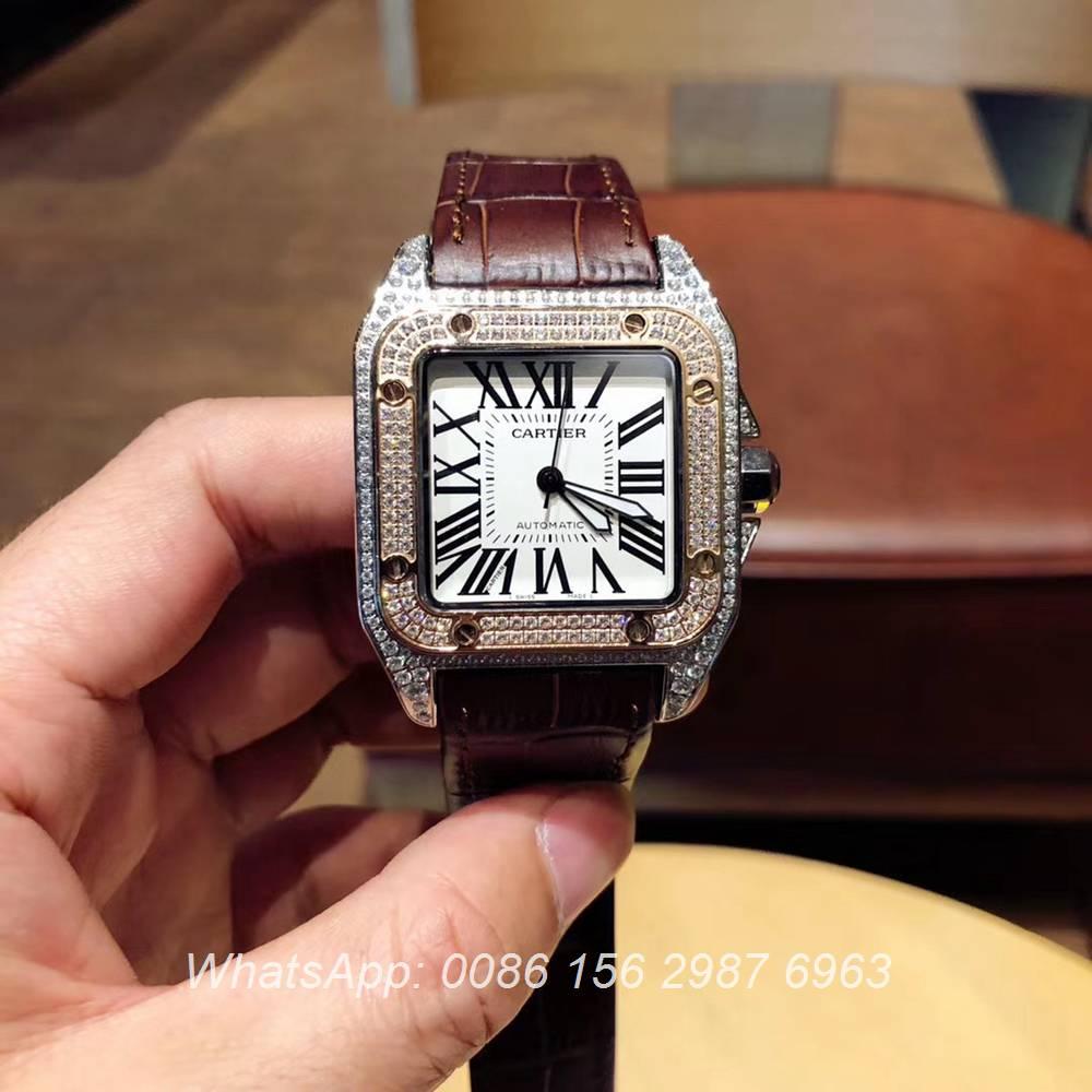 C090XD322, Cartier Santos diamonds rose gold 2tone color men size Miyota 8215