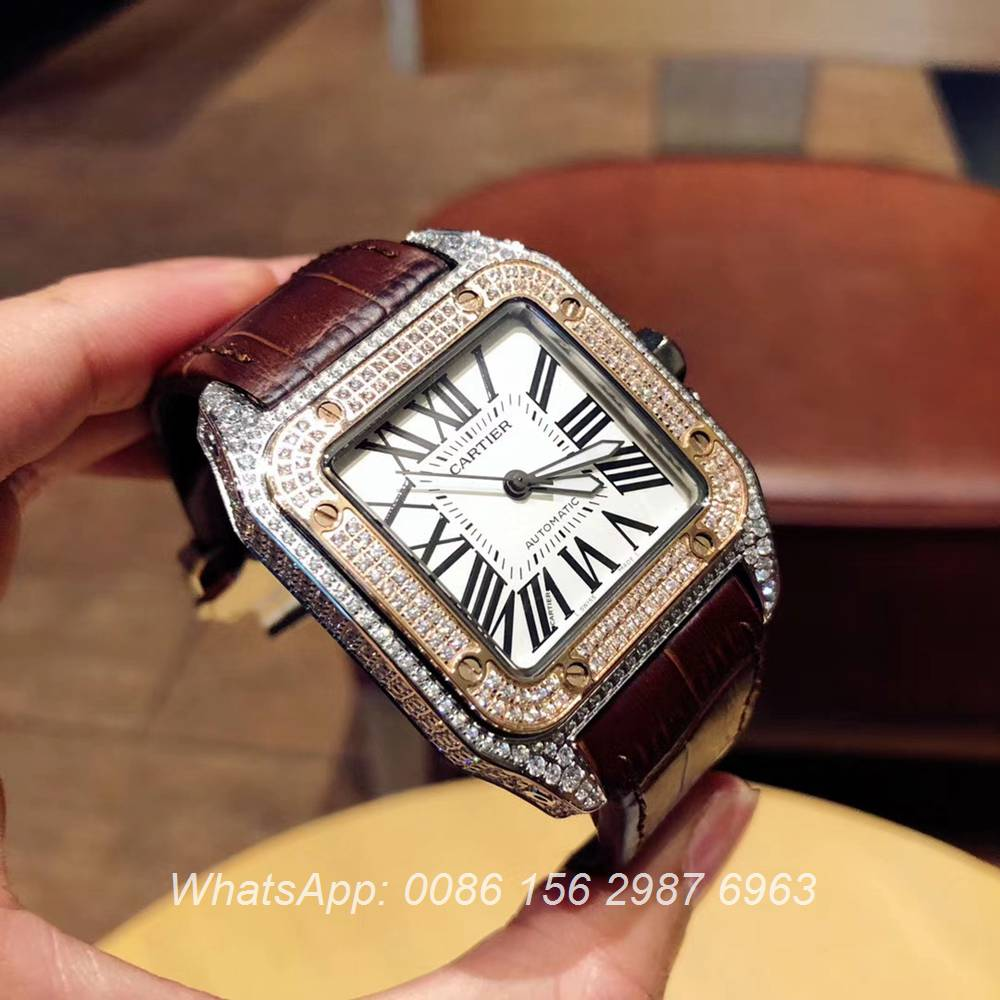 C090XD322, Cartier Santos diamonds rose gold 2tone color men size Miyota 8215