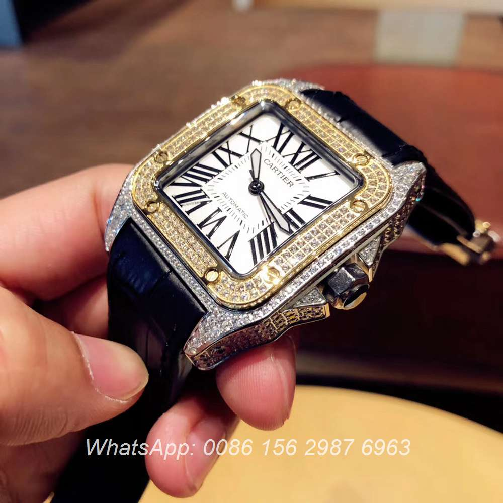 C090XD323, Cartier iced out yellow gold two tone case men size automatic Santos