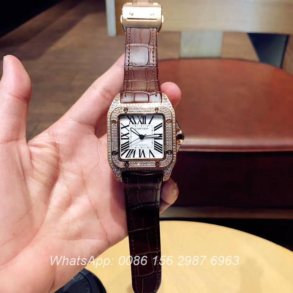 C090XD324, Cartier santos iced out rose gold shiny diamonds men watch automatic