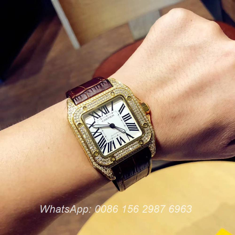 C090XD325, Cartier iced out santos yellow gold shiny diamonds automatic luxury men's watch