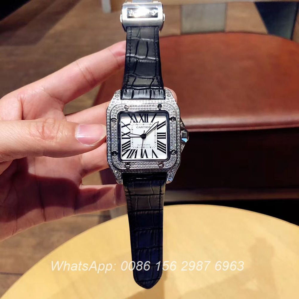 C090XD321, Cartier diamonds santos silver case 40mm Miyota automatic 8215